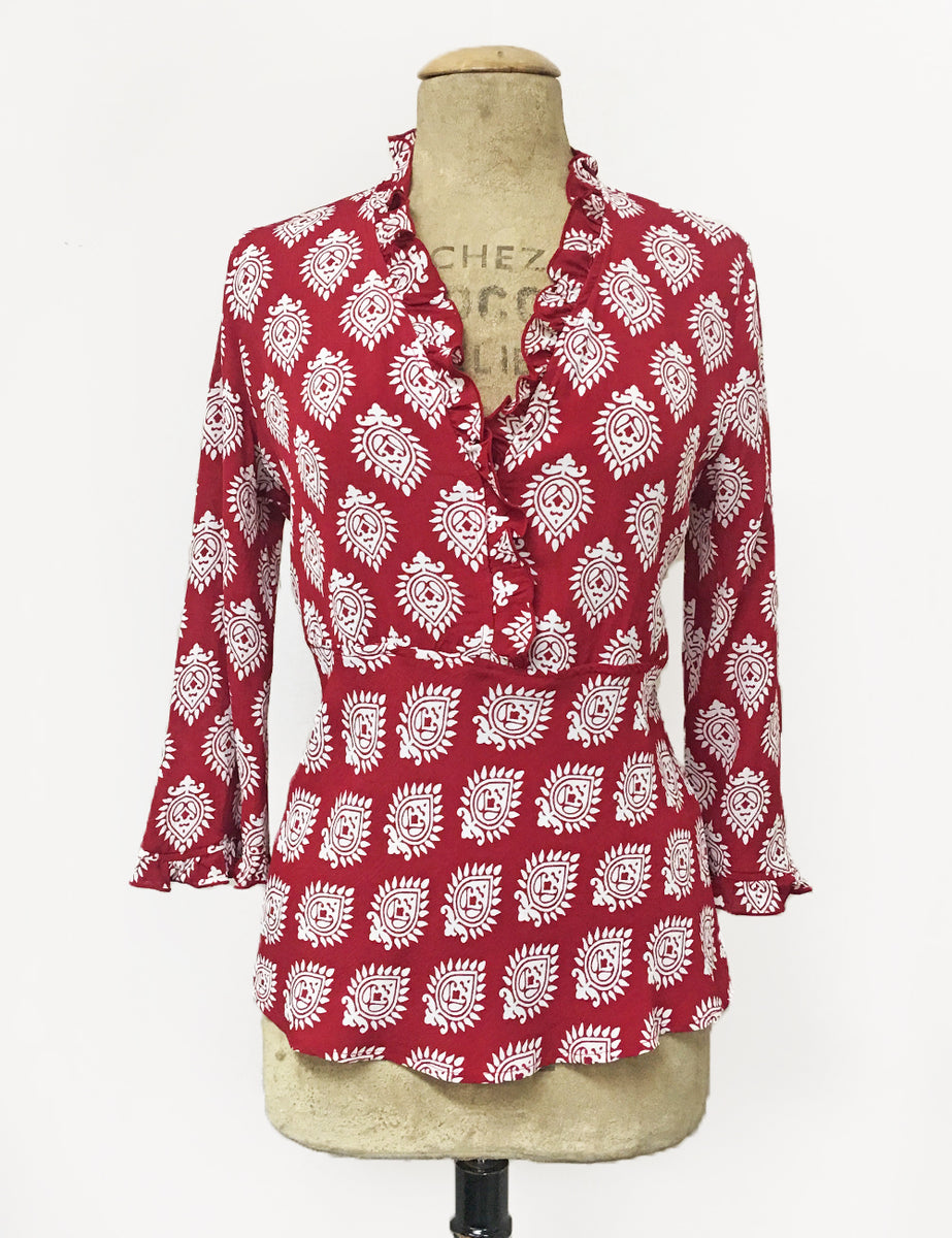 prix bas commercialisable dernière mode Red & White Turtle Stamp Print Ruffle Fitted Femme Blouse