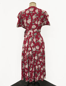 Red & Ivory Heirloom Rose Print 1940s Style Cascade Wrap Dress