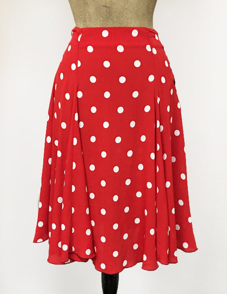 Red & White Big Polka Dot Venice Beach Balboa Circle Swing Skirt
