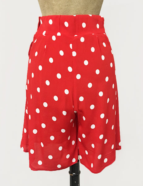 Vintage Inspired Red & White Big Polka Dot High Waisted Shorts - FINAL SALE