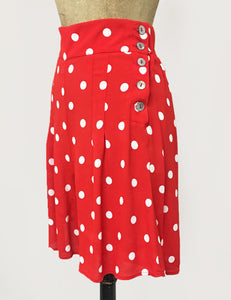 Vintage Inspired Red & White Big Polka Dot High Waisted Shorts