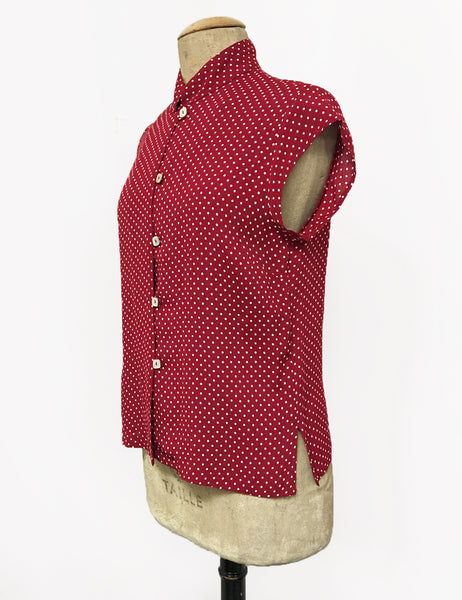 Red Hot Polka Dot Button Up Mandarin Collar Tea Timer Top