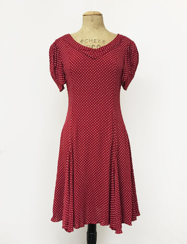 Red & White Polka Dot 1930s Venice Beach Balboa Swing Dress