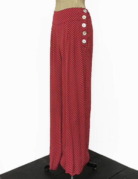 Red & White Polka Dot 1940s Style High Waisted Palazzo Pants