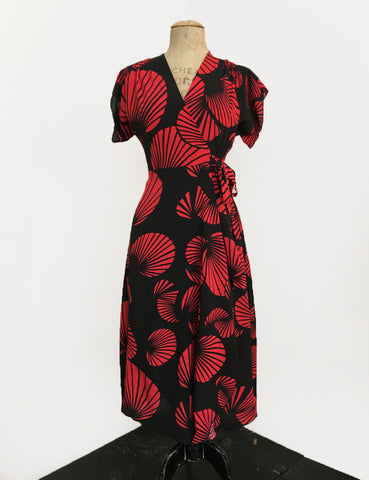Black & Red Art Deco Fan Print Cascade Wrap Dress