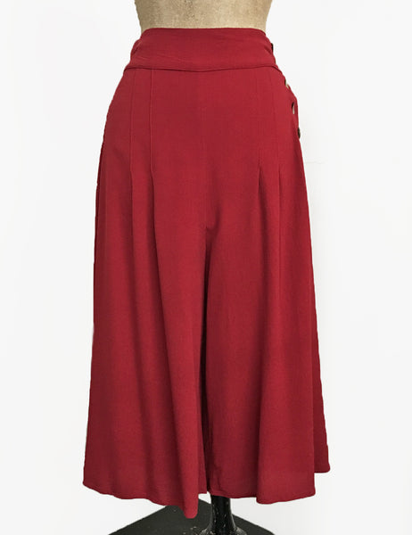 Solid Red Heavy Crepe High Waisted Wide Leg Culottes