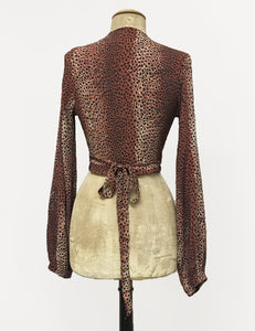 Brown Leopard Print Drama Sleeve Babaloo Tie Crop Top