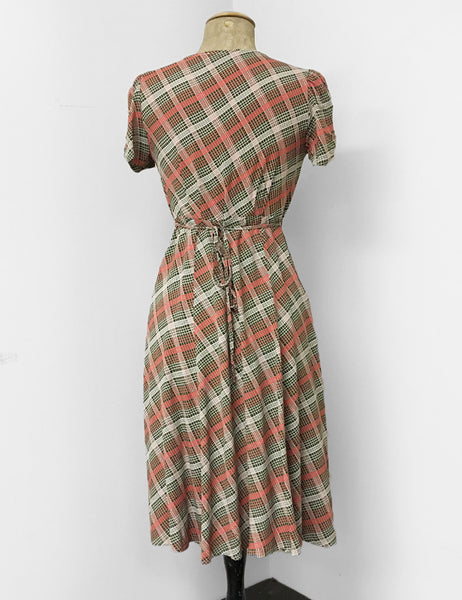 Peach & Green Plaid Vintage Inspired Rita Dress