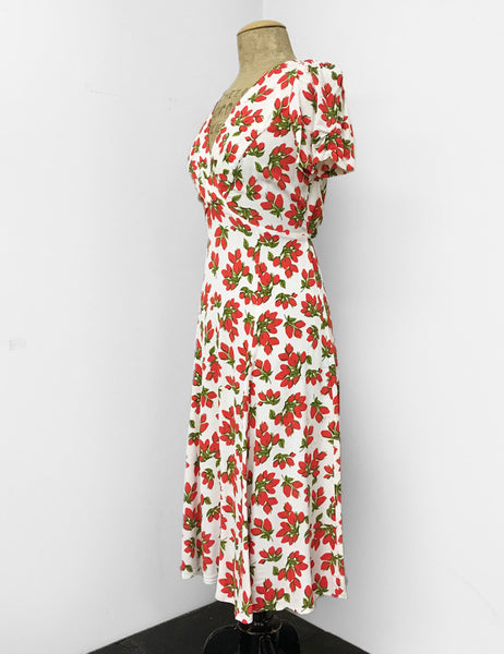 Red & White Rosebud Print Vintage Inspired Rita Dress