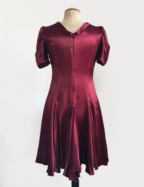 Ruby Red Satin 1930s Venice Beach Balboa Swing Dress
