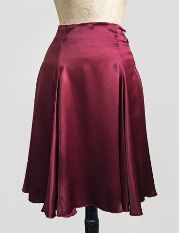 Ruby Red Satin Venice Beach Balboa Circle Swing Skirt