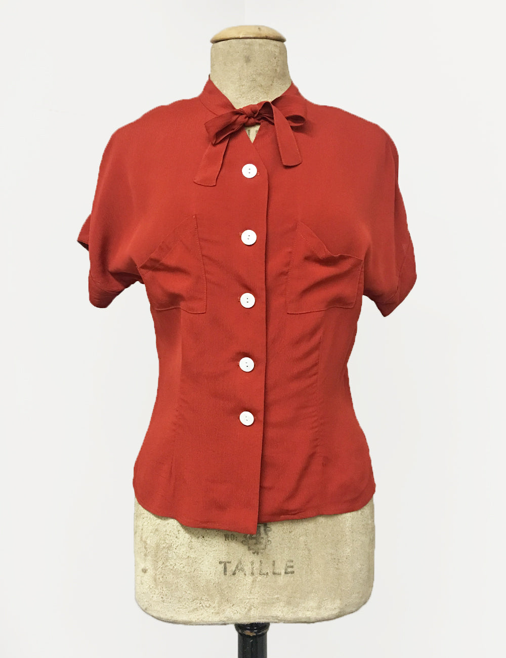Rust Red 1940s Style Amanda Tie Blouse