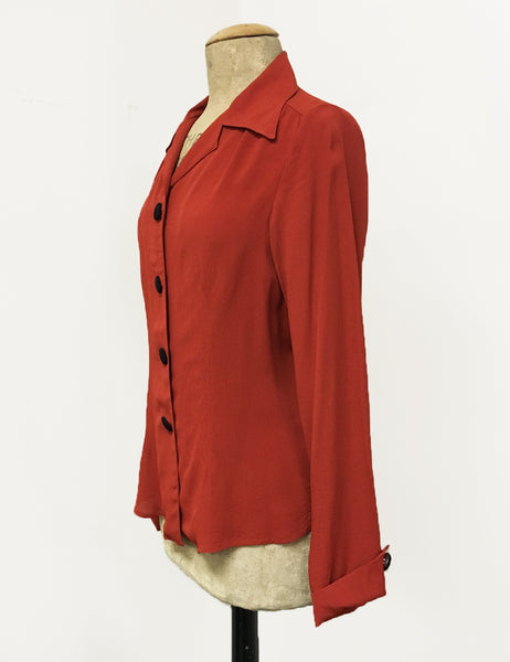 Rust Red 1940s Style Button Up Hepburn Blouse