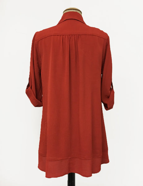 Solid Rust Red Hi-Low Button Up Collared Blouse