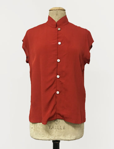 Rust Red Button Up Mandarin Collar Tea Timer Top