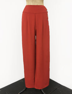 Rust Red 1940s Style High Waisted Palazzo Pants