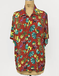 Doris Mayday for Loco Lindo - Rust Red Star of the Sea Men's Sonny Button Up Shirt
