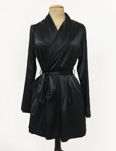 Solid Black Elegant Satin Shawl Collar Kimono Robe