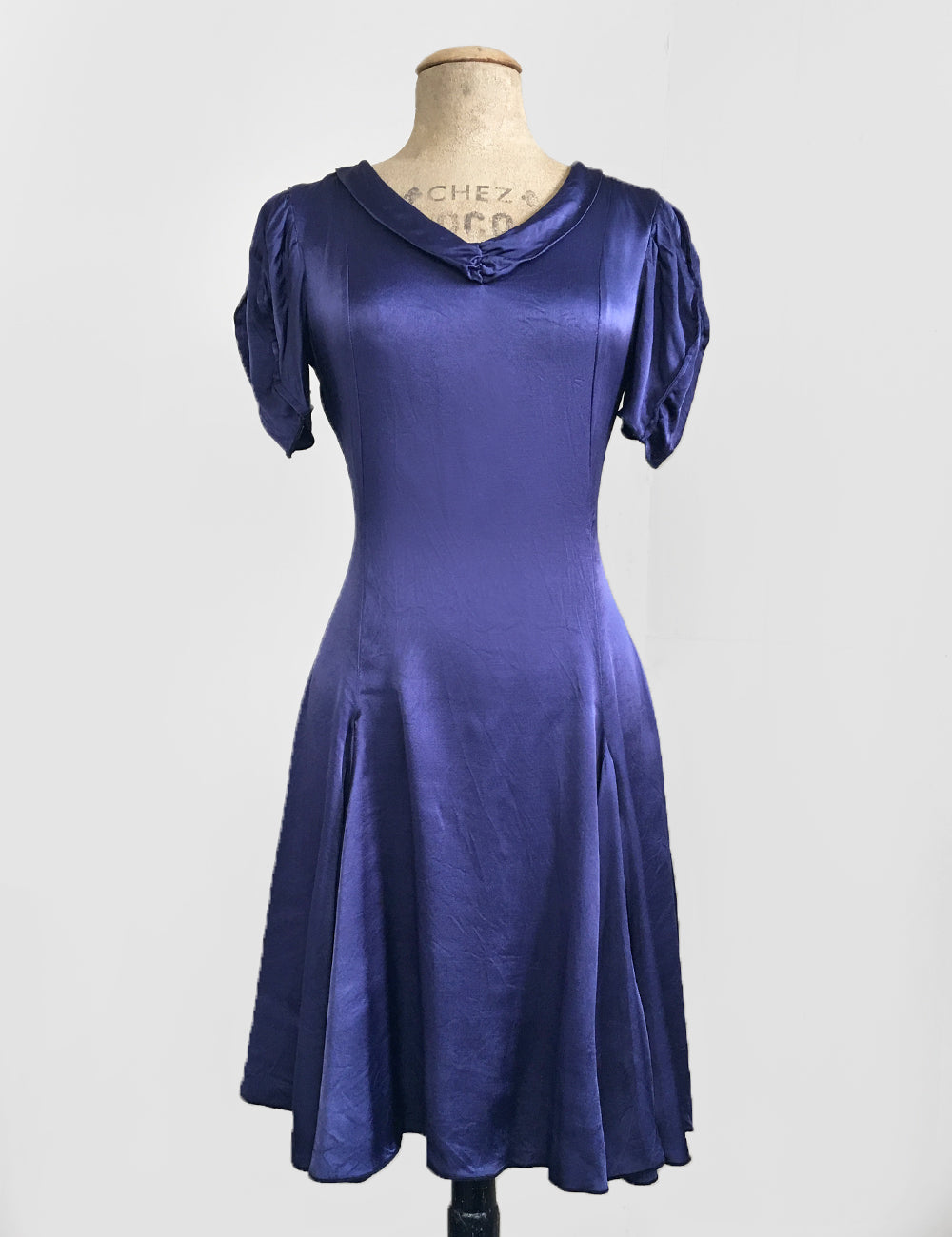 Slate Blue Satin 1930s Venice Beach Balboa Swing Dress