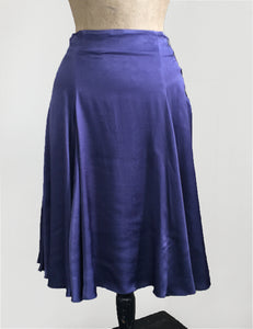 Slate Blue Satin Venice Beach Balboa Circle Swing Skirt