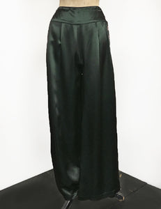 Emerald Green Satin 1940s Style High Waisted Palazzo Pants