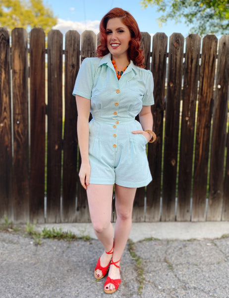 Scout for Loco Lindo Green Seersucker 1940s Carolina Romper
