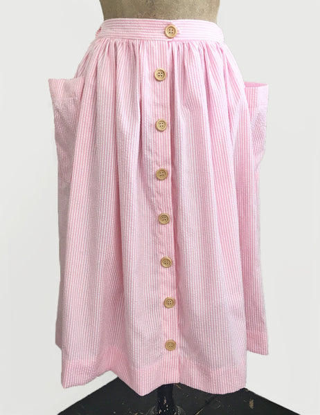 Scout for Loco Lindo Pink Seersucker 1940s Button Front Petunia Skirt