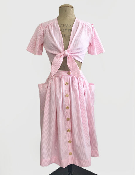 Scout for Loco Lindo Pink Seersucker 1940s Style Daisy Tie Top