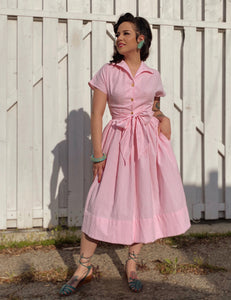 Scout for Loco Lindo 1940s Style Pink Seersucker Willow Dress