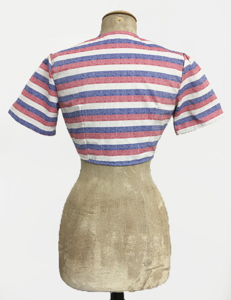 Scout for Loco Lindo Red White & Blue Stripe Americana Daisy Top