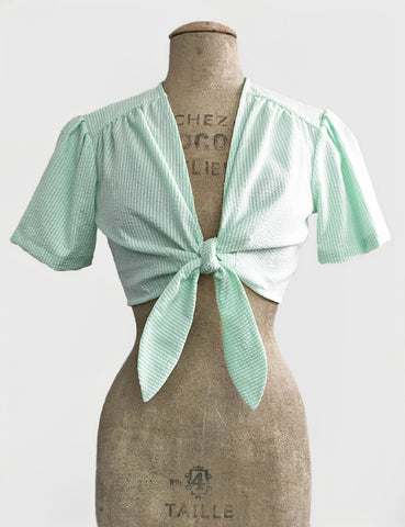 PREORDER - Scout for Loco Lindo Green Seersucker 1940s Style Daisy Tie Top