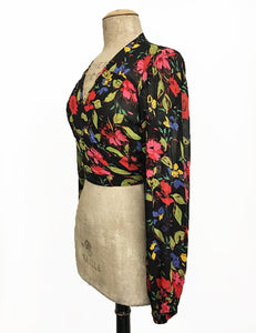 Sheer Black & Colorful Floral Balloon Sleeve Babaloo Crop Wrap Top