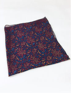 Sheer Burgundy Deco Floral Square Hair & Neck Scarf