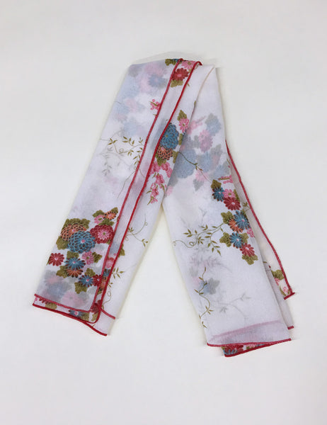 Sheer Ivory Floral Square Hair & Neck Scarf