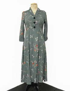 1940s Style Silver Bouquet Floral Long Sleeve Tea Length Vintage Dress