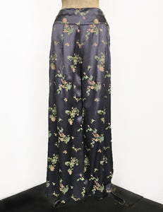 Stone Grey Printed Satin 1930s Style High Waisted Palazzo Pants