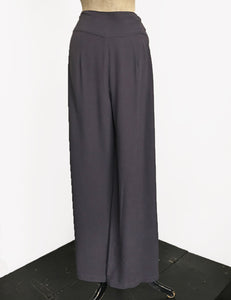 Slate Grey Retro 1940s Style High Waisted Palazzo Pants
