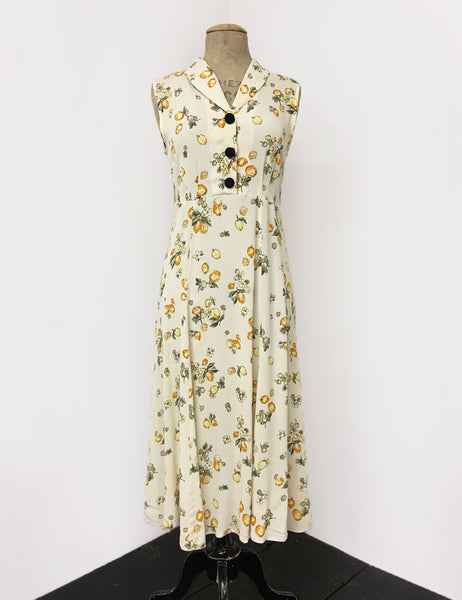 Ivory & Yellow Lemon Print Sleeveless Tea Length Vintage Day Dress