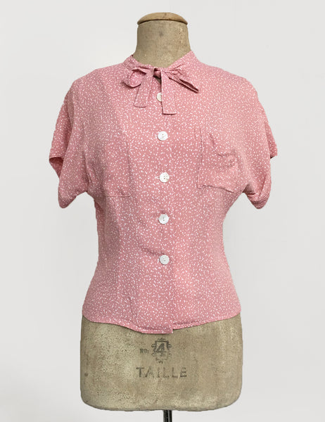 Sweet Pink Pixie Dot Vintage Style Amanda Tie Blouse