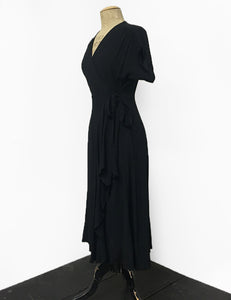 1940s Inspired Solid Black Cascade Wrap Dress