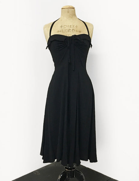 BACK IN STOCK! Solid Black Vintage Style 1940s Marta Halter Swing Dress