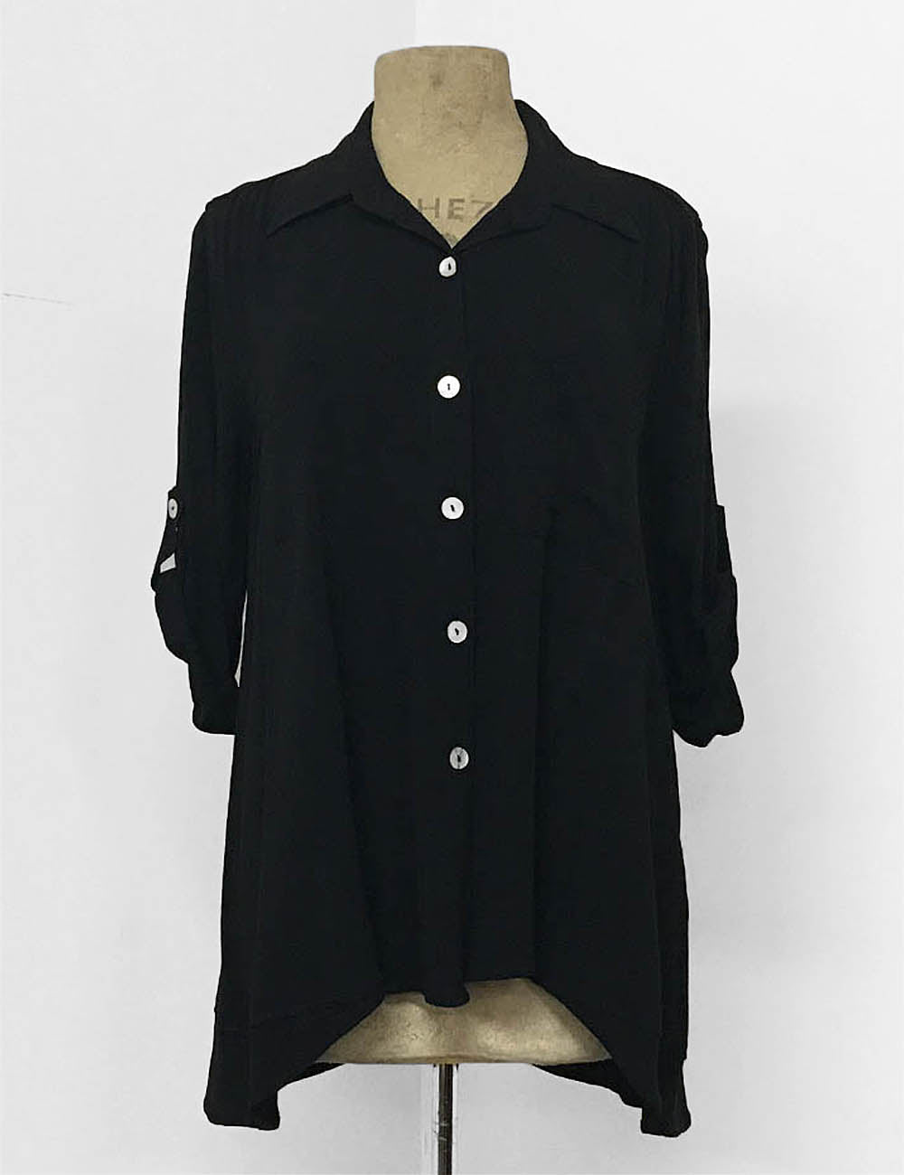 Solid Black Button Up Collared Hi-Low Blouse - FINAL SALE
