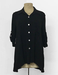 BACK IN STOCK!  Solid Black Button Up Collared Hi-Low Blouse