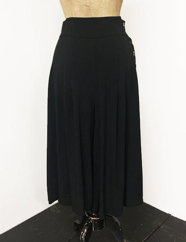 Solid Black Retro High Waisted Wide Leg Culottes