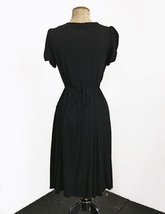 Solid Black Vintage Inspired Knee Length Rita Dress