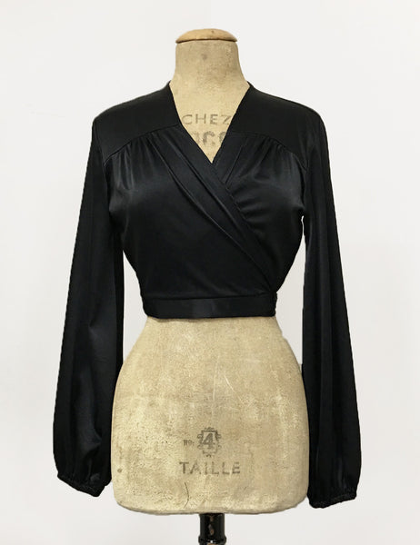Black Satin Babaloo Vintage Inspired Wrap Crop Top