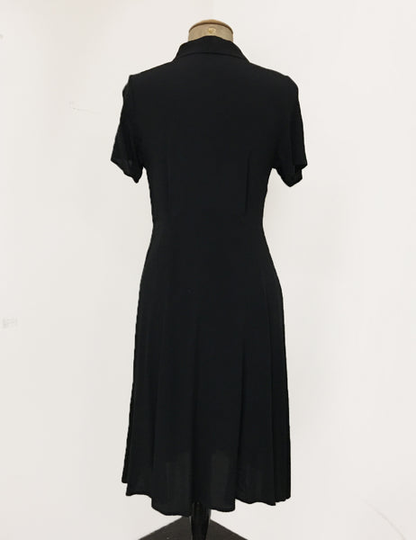 Solid Black Contrast Buttons Short Sleeve Vintage Day Dress - FINAL SALE