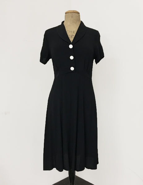 Solid Black Contrast Buttons Short Sleeve Vintage Day Dress