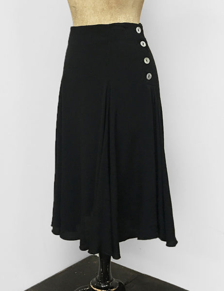 Solid Black Rayon Crepe Venice Beach Balboa Circle Swing Skirt