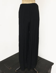 Solid Black Retro 1940s Style High Waisted Palazzo Pants